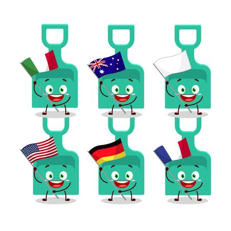 Sand shovel cartoon character bring the flags of various countries