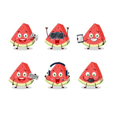 Slash of watermelon cartoon character are playing games with various cute emoticons