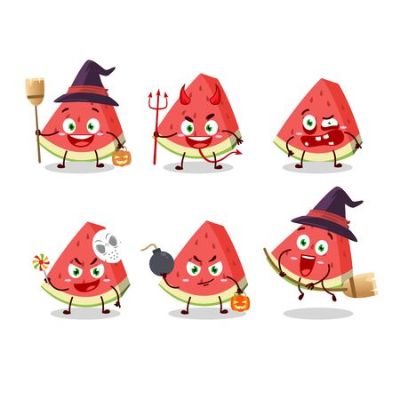 Halloween expression emoticons with cartoon character of slash of watermelon
