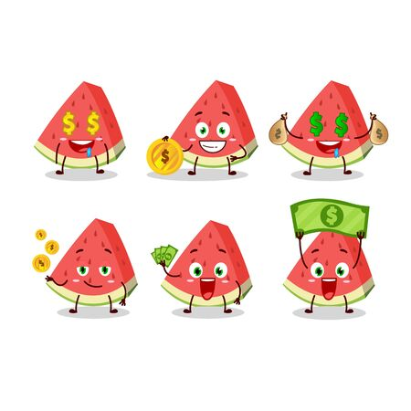 Slash of watermelon cartoon character with cute emoticon bring money