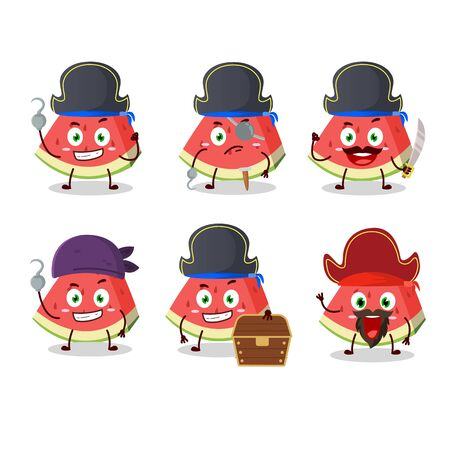 Cartoon character of slash of watermelon with various pirates emoticons