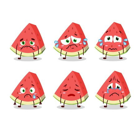 Slash of watermelon cartoon character with sad expression