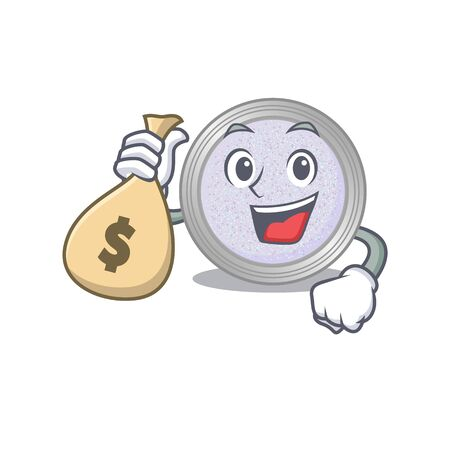 Crazy rich glitter eyeshadow mascot design having money bags. Vector illustration 矢量图片