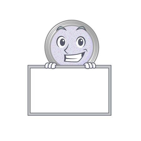 Glitter eyeshadow cartoon design style standing behind a board. Vector illustration