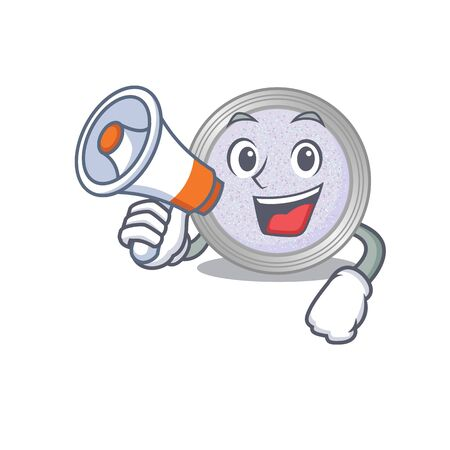 Mascot design of glitter eyeshadow announcing new products on a megaphone. Vector illustration
