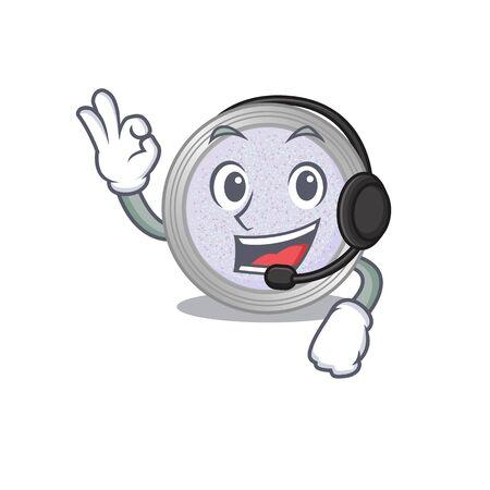 A stunning glitter eyeshadow mascot character concept wearing headphone. Vector illustration 向量圖像
