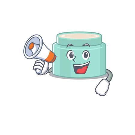 Mascot design of lipbalm announcing new products on a megaphone. Vector illustration Çizim