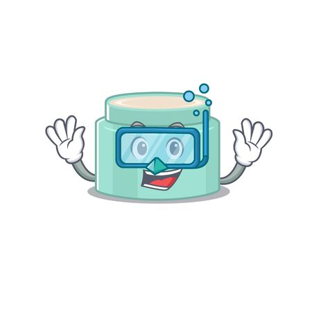 Lipbalm mascot design swims with diving glasses. Vector illustration