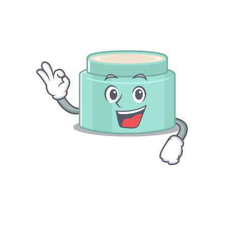 Lipbalm mascot design style showing Okay gesture finger. Vector illustration
