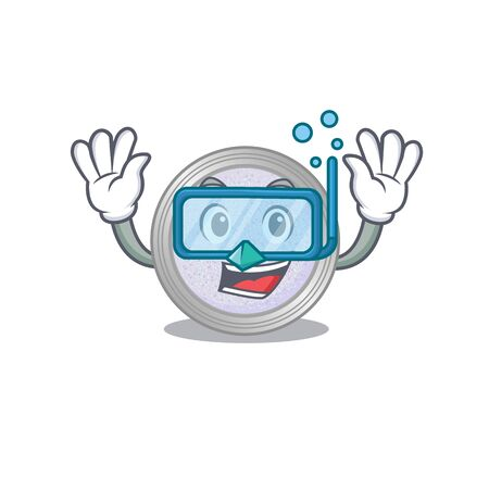 Glitter eyeshadow mascot design swims with diving glasses. Vector illustration
