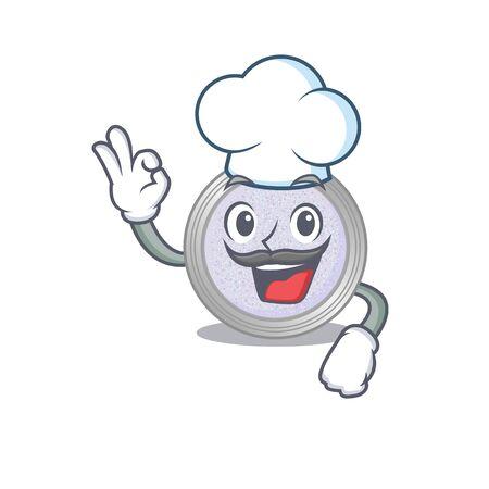 Talented glitter eyeshadow chef cartoon drawing wearing chef hat. Vector illustration
