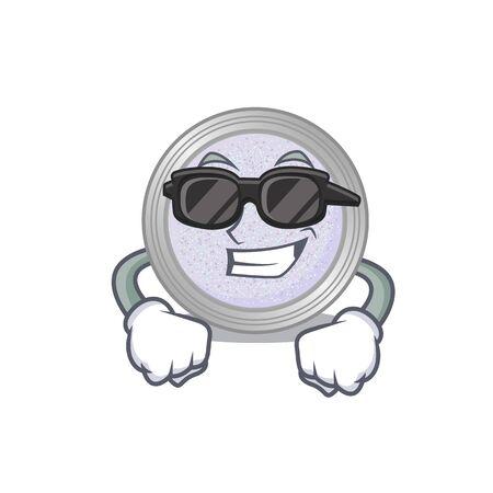 cartoon character of glitter eyeshadow wearing classy black glasses. Vector illustration