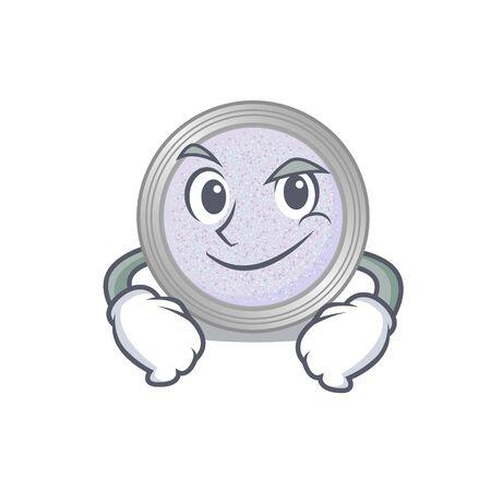 A cute arrogant caricature design of glitter eyeshadow having confident gesture. Vector illustration