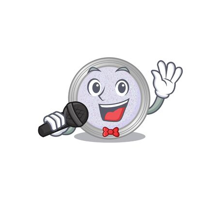 cartoon character of glitter eyeshadow sing a song with a microphone. Vector illustration 向量圖像