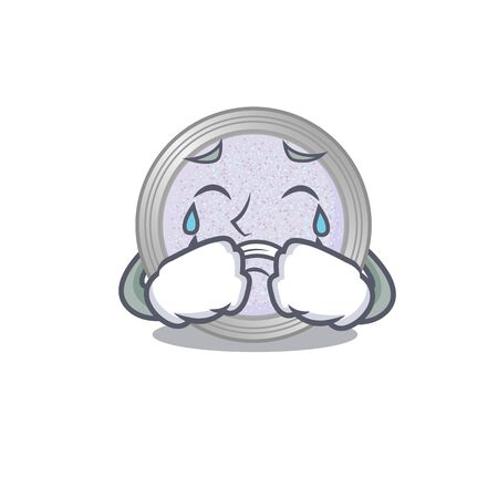 Caricature design of glitter eyeshadow having a sad face. Vector illustration