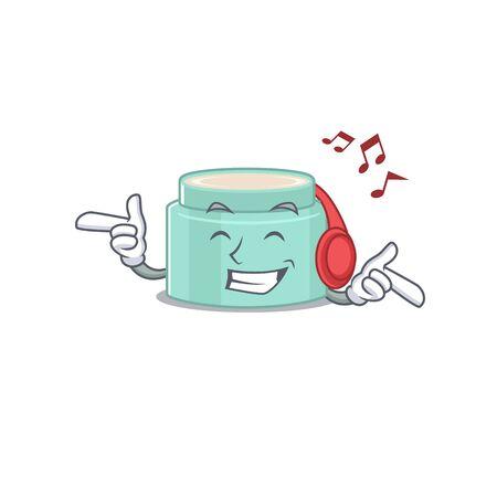 Lipbalm Cartoon design concept listening music on headphone. Vector illustration