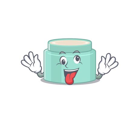 A mascot design of lipbalmhaving a funny crazy face. Vector illustration