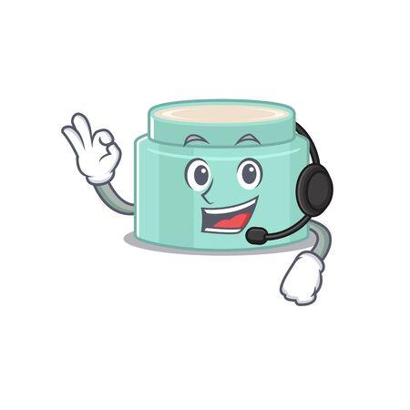 A stunning lipbalm mascot character concept wearing headphone. Vector illustration