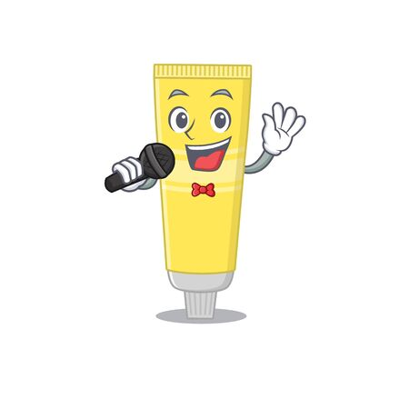 caricature character of hair dye happy singing with a microphone