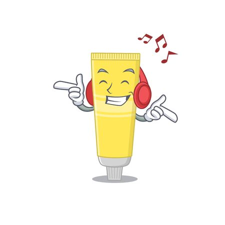 A Caricature design style of hair dye listening music on headphone