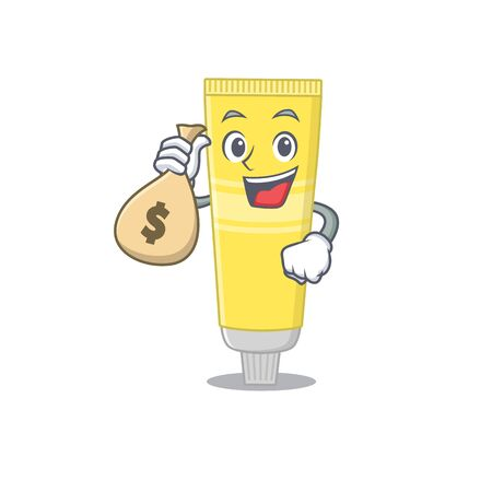 Crazy rich Cartoon picture of hair dye having money bags