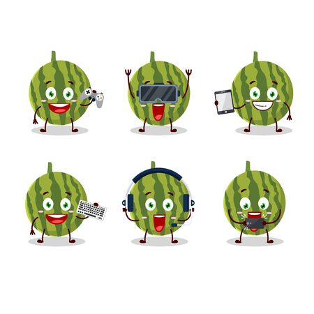 Watermelon cartoon character are playing games with various cute emoticons.Vector illustration 向量圖像