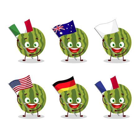 Watermelon cartoon character bring the flags of various countries.Vector illustration