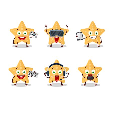 Yellow starfish cartoon character are playing games with various cute emoticons.Vector illustration 向量圖像