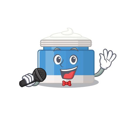 cartoon character of moisturizer cream sing a song with a microphone