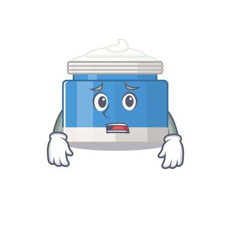 Cartoon design style of moisturizer cream having worried face