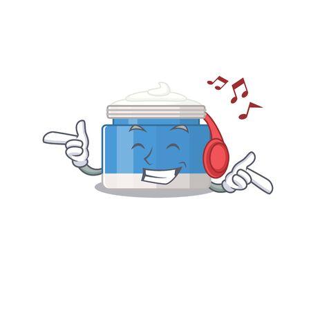Moisturizer cream Cartoon design concept listening music on headphone 向量圖像
