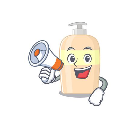 Mascot design of toner announcing new products on a megaphone