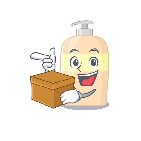 A cheerful toner cartoon design concept having a box