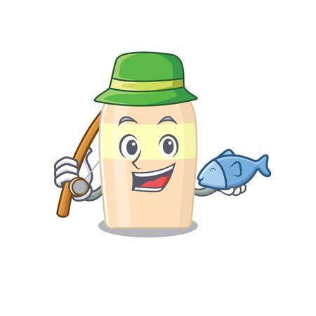 Cartoon design style of toner goes to fishing