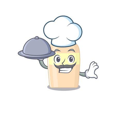 mascot design of toner chef serving food on tray  イラスト・ベクター素材