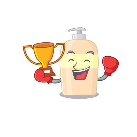 An elegant boxing winner of toner caricature design concept  イラスト・ベクター素材