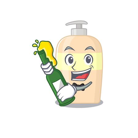 caricature design concept of toner cheers with bottle of beer