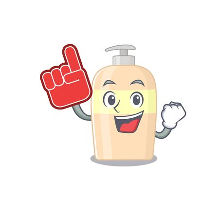 Toner in cartoon drawing character design with Foam finger
