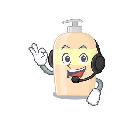 A stunning toner mascot character concept wearing headphone