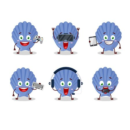 Blue shell cartoon character are playing games with various cute emoticons 向量圖像
