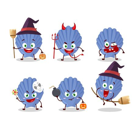 Halloween expression emoticons with cartoon character of blue shell