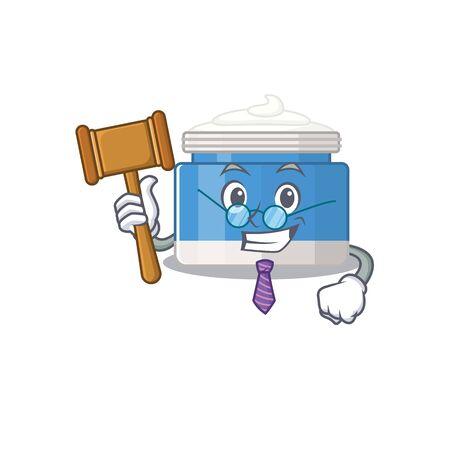 A wise judge of moisturizer cream mascot design wearing glasses