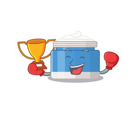 An elegant boxing winner of moisturizer cream caricature design concept Vettoriali