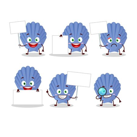 Blue shell cartoon character bring information board