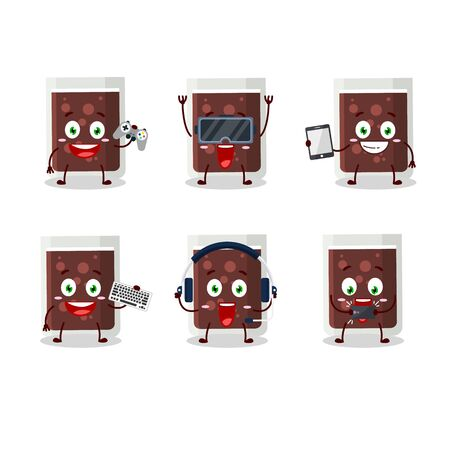 Glass of cola cartoon character are playing games with various cute emoticons 向量圖像