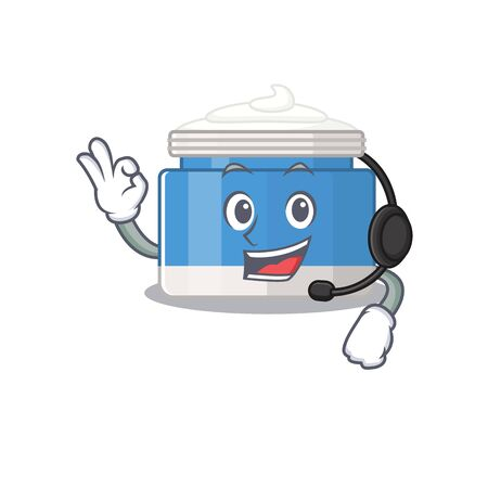 A stunning moisturizer cream mascot character concept wearing headphone
