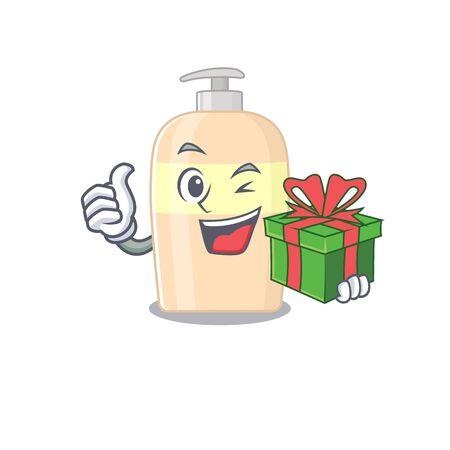 joyful toner cartoon character with a big gift box  イラスト・ベクター素材