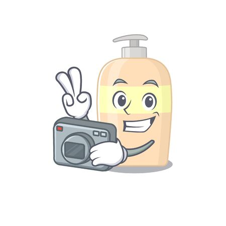 a professional photographer toner cartoon picture working with camera  イラスト・ベクター素材