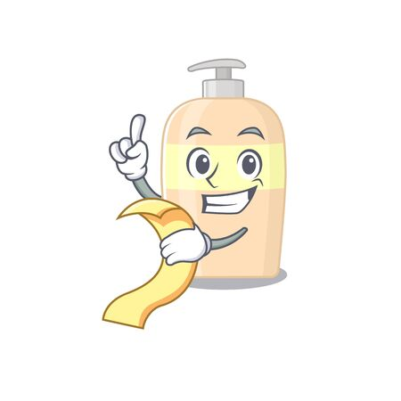 Toner mascot character style with a menu on his hand  イラスト・ベクター素材