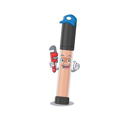 cartoon mascot design of brightener as a Plumber with tool. Vector illustration